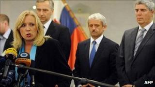 Slovakian Prime Minister Iveta Radicova gives press conference after vote