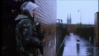 Soldier on patrol in west Belfast