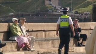 Police officer on patrol in Scarborough