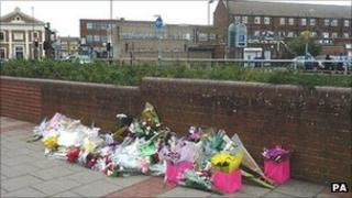 Flowers were left at the scene in Bexleyheath