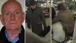 John Gladwin in a picture by police, and on shop CCTV