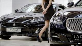 Jaguar cars at a show in Romania