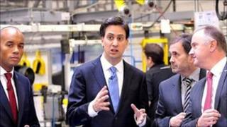 Ed Miliband on a visit to Worcester on Monday