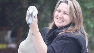 Anne Brummer and swan