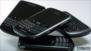 A range of Blackberry handsets