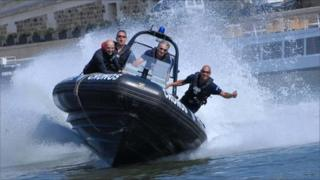 The Brigade Fluviale on a high-speed rib patrol boat in Paris