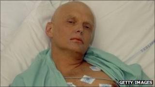 Alexander Litvinenko in hospital ward prior to his death