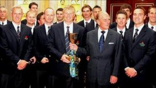 Lancashire squad with Prince Philip