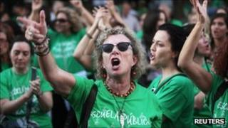 Campaigners in Madrid on Thursday, protesting against cuts to education spending