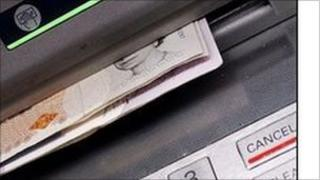 close up of cash machine