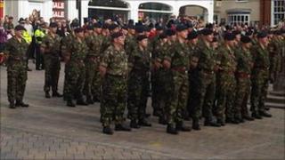 101 Engineer Regiment (EOD) on parade through Saffron Walden
