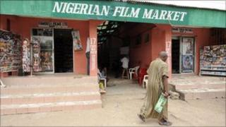 A Nigerian film market in Lagos (archive shot)