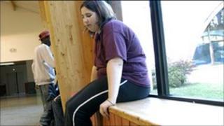 Obese teenage girl