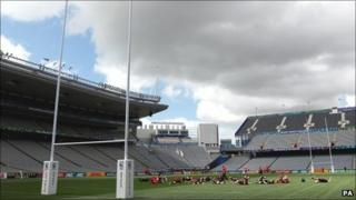 Wales warm up at Eden Park in Auckland the day before their semi-final