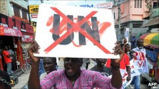 Haitians demonstrate in Port-au-Prince against the UN mission in Haiti on 23 September 2011