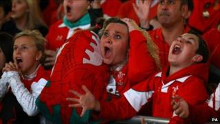 It was a morning of contrasting emotions, as Wales fans events unfold on the screens at the Millennium Stadium in Cardiff