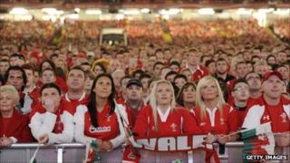 Crowd at the Millennium Stadium live relay