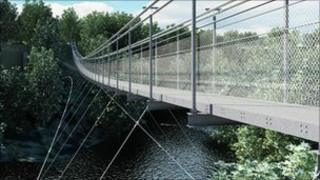 Artist's impression of suspension bridge