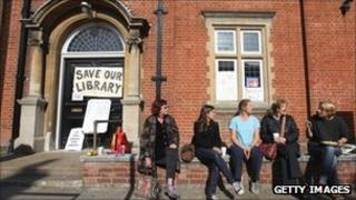 Campaigners outside Kensal Rise library