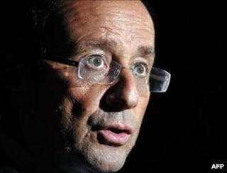 Francois Hollande, on a visit to Sainte-Fortunade, south-western France, 15 October