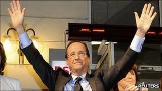 Francois Hollande celebrates victory