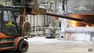 Aluminium being produced at an Alcoa plant in South Carolina