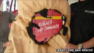 Burnt electric blanket (Photo: Jersey Fire and Rescue)