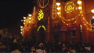 Crowds line the streets for the Diwali lights being switched on in Leicester