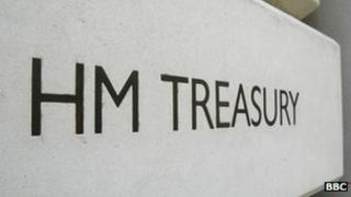 Sign at the entrance to the HM Treasury