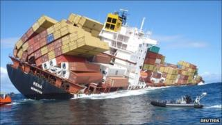 The Rena, grounded off New Zealand, leaking oil and listing badly - 15 October 2011