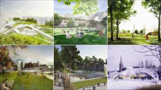 The six designs short-listed for Union Terrace Gardens in Aberdeen