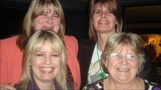 Rose Hansford (bottom right) with her daughters Steph, Vikki and Sharon