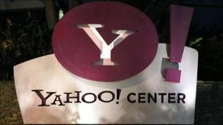 Yahoo sign outside offices in Santa Monica, California
