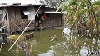 House submerged by floods from typhoons in the Bulacan province