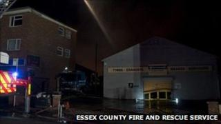 Fire at the tyre centre in Colchester