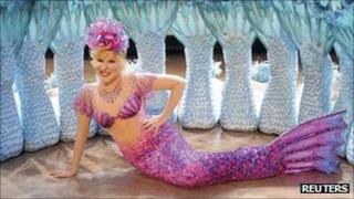 Bette Midler in her mermaid stage costume