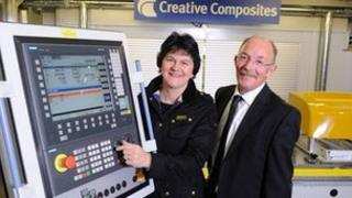 Enterprise Minister Arlene Foster pictured with Roy Kelly of Creative Composites (Picture Michael Cooper)