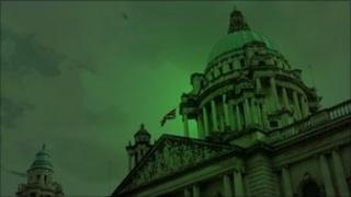Belfast City Hall with green lighting effect