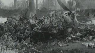 Wreckage of the Eagle Viking aircraft which crashed after take off from Blackbushe airport near Yateley in Hampshire