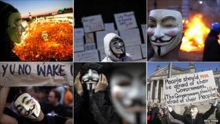 Clockwise from top left - Masked protesters in Madrid, Mexico City, Rome, Berlin, Hong Kong, Lisbon