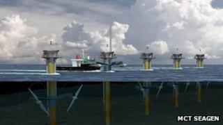 Artist's impression of proposed Skerries Tidal Stream Array