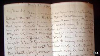 Admiral Lord Nelson's letter (Hansons Auctioneers/PA)