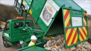 Food waste tipped. Image courtesy of Newcastle-under-Lyme Borough Council