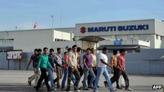 Workers at Maruti factory in Haryana