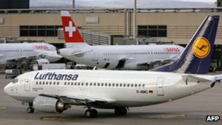 Lufthansa plane in Zurich