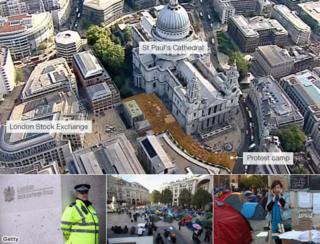 Composite including map showing the location of the protest and St Paul's Square