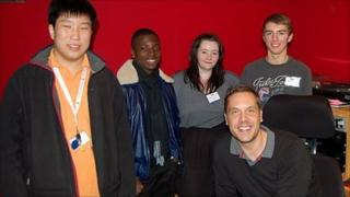 Radio students with BBC Radio Leicester's Jim Davis