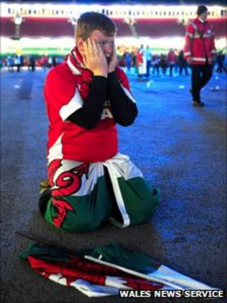 It's all over - a Wales fan after the screening at the Millennium Stadium
