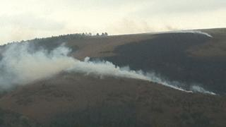 Wind conditions have affected the fire Photo: Sam Ryall