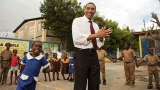 Andrew Holness with schoolchildren
